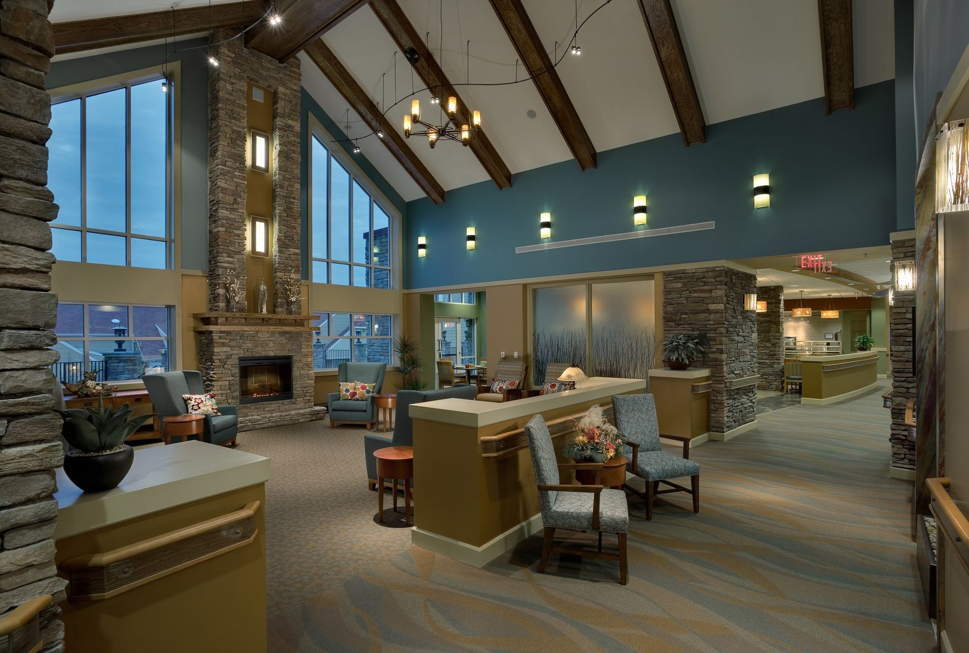 Deerfield Episcopal Retirement Community, Asheville, CCRC Design Senior Living THW Lounge