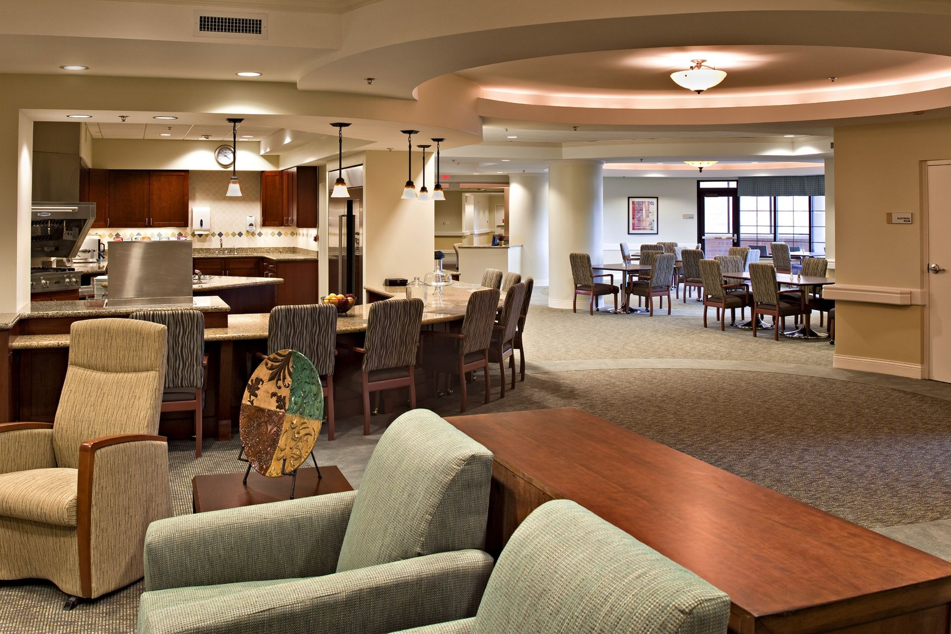 Lakeview Village Retirement Skilled Nursing and Rehab Senior Living Design THW  Living Dining Kitchen