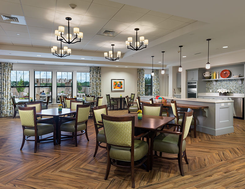 Memory Care Dining & View to Memory Garden Assisted Living Desingers Alzheimers Design