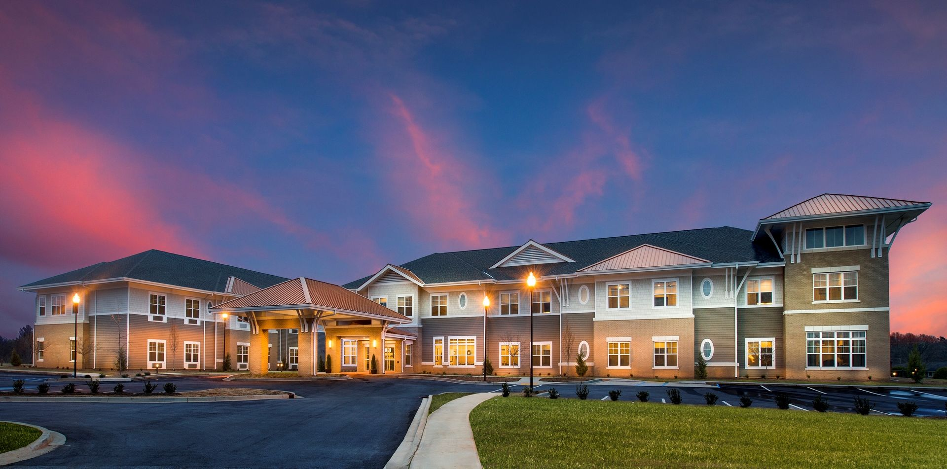 Greer Memory Care Design THW Exterior Night