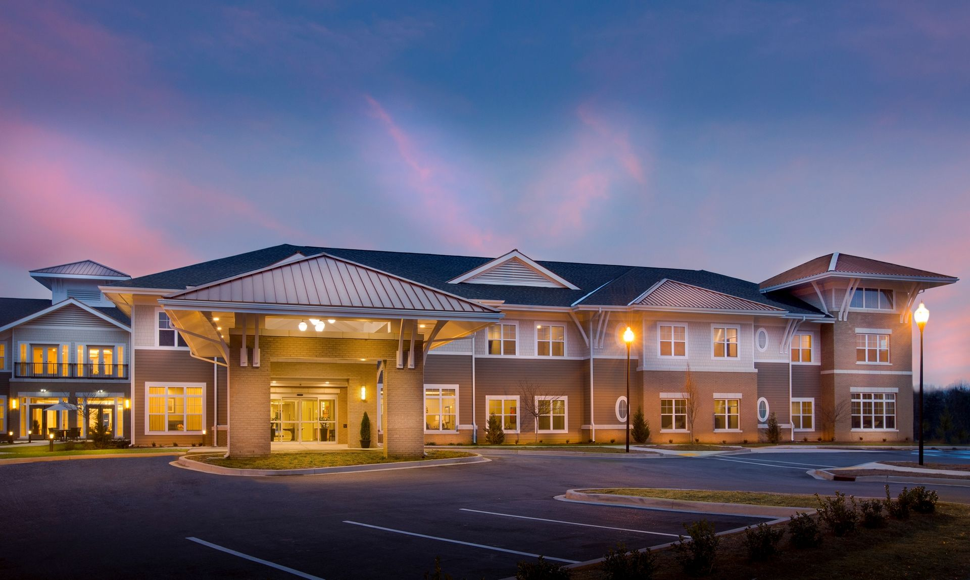 Greer Memory Care Design THW Exterior Night 2