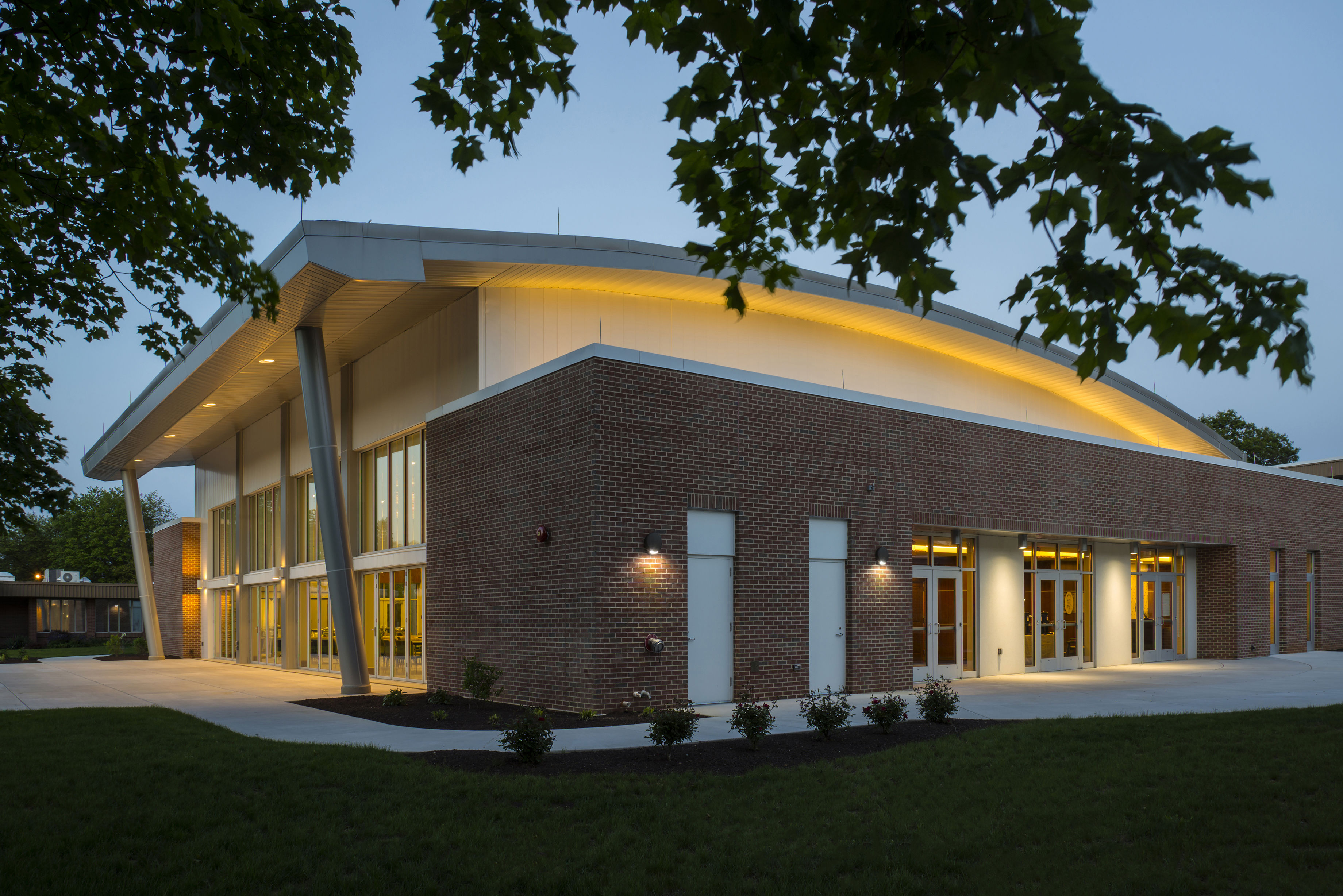 Rife Center Mechanicsburg Pennsylvania exterior night shot THW senior living architects