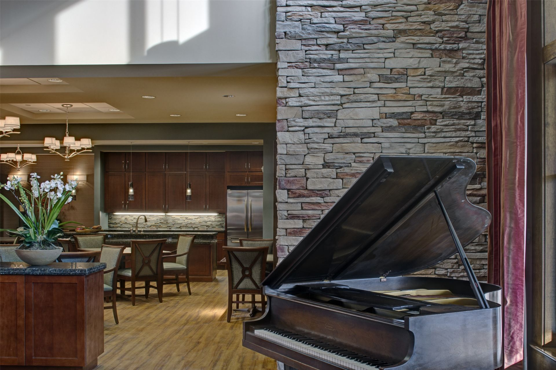Assisted Living, Memory Care Design THW Piano Lobby