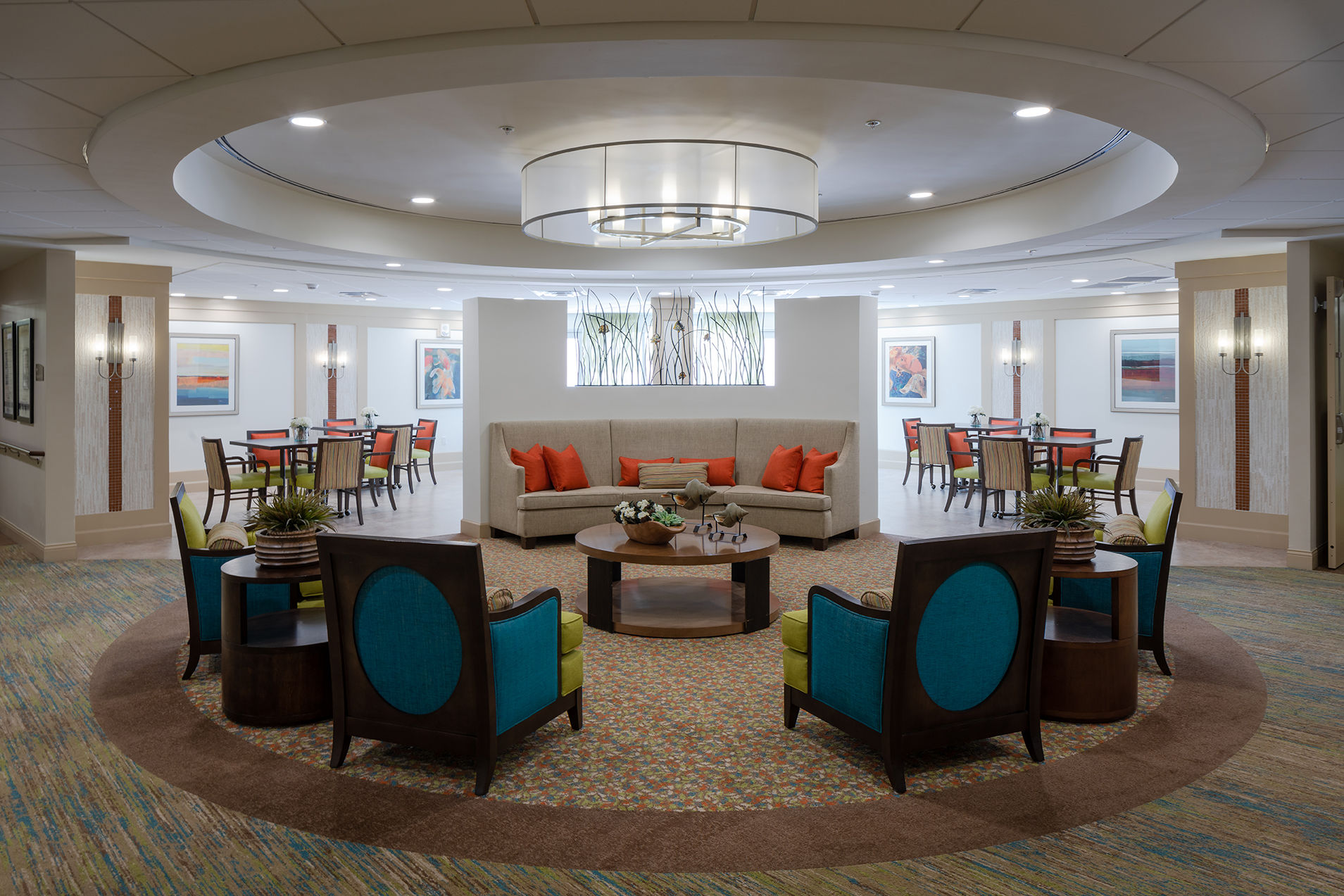 The Glenview at Pelican Bay Lobby Healthcare Florida Senior Living THW Design