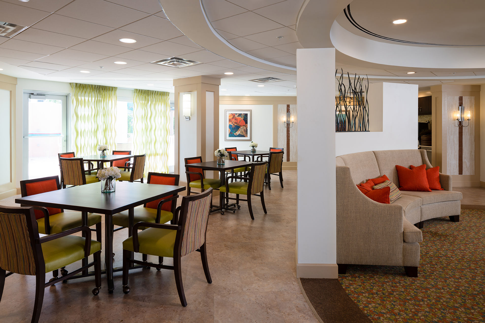 The Glenview at Pelican Bay Activity Area Healthcare Florida Senior Living THW Design