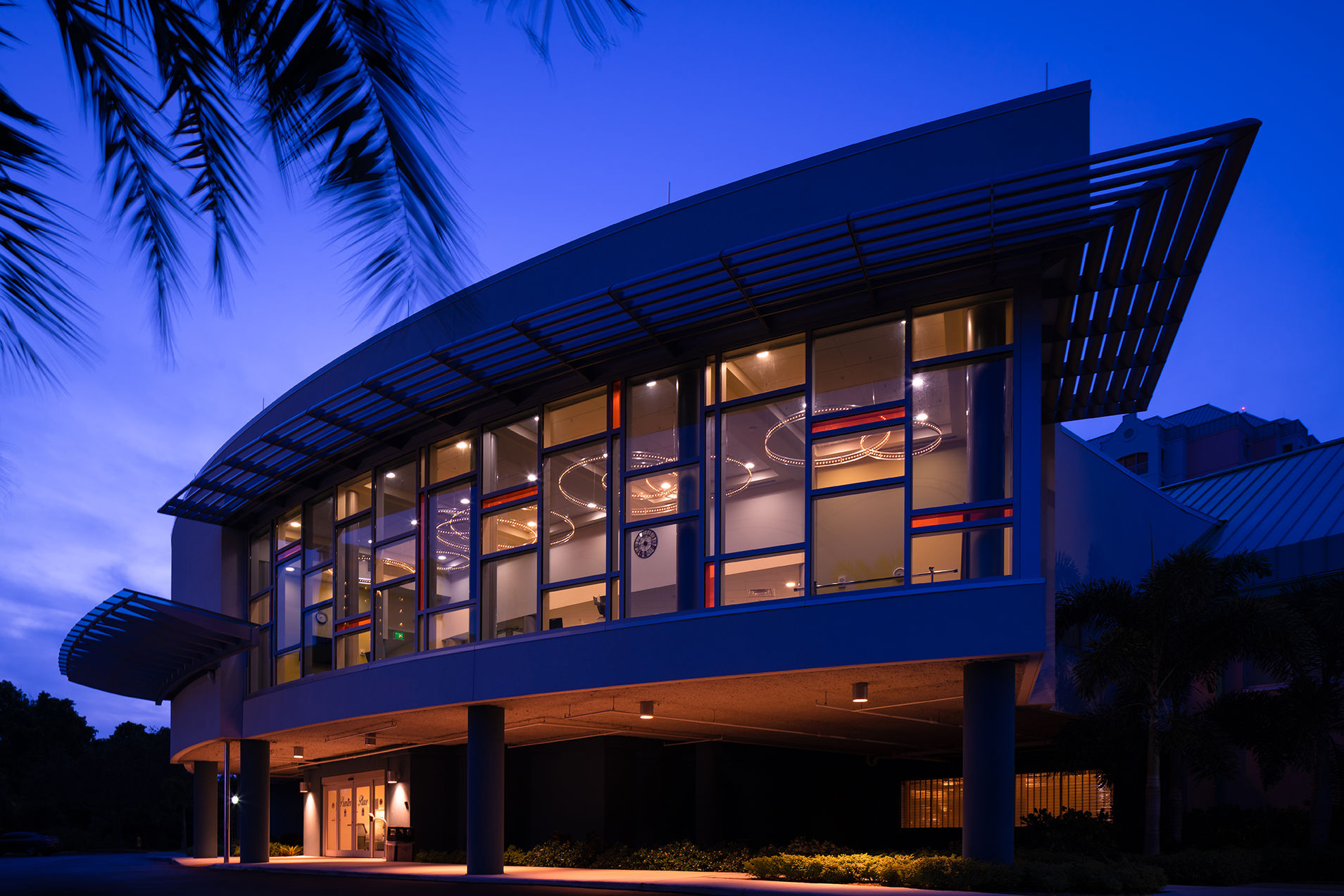 The Glenview at Pelican Bay Exterior Night  Healthcare Florida Senior Living THW Design