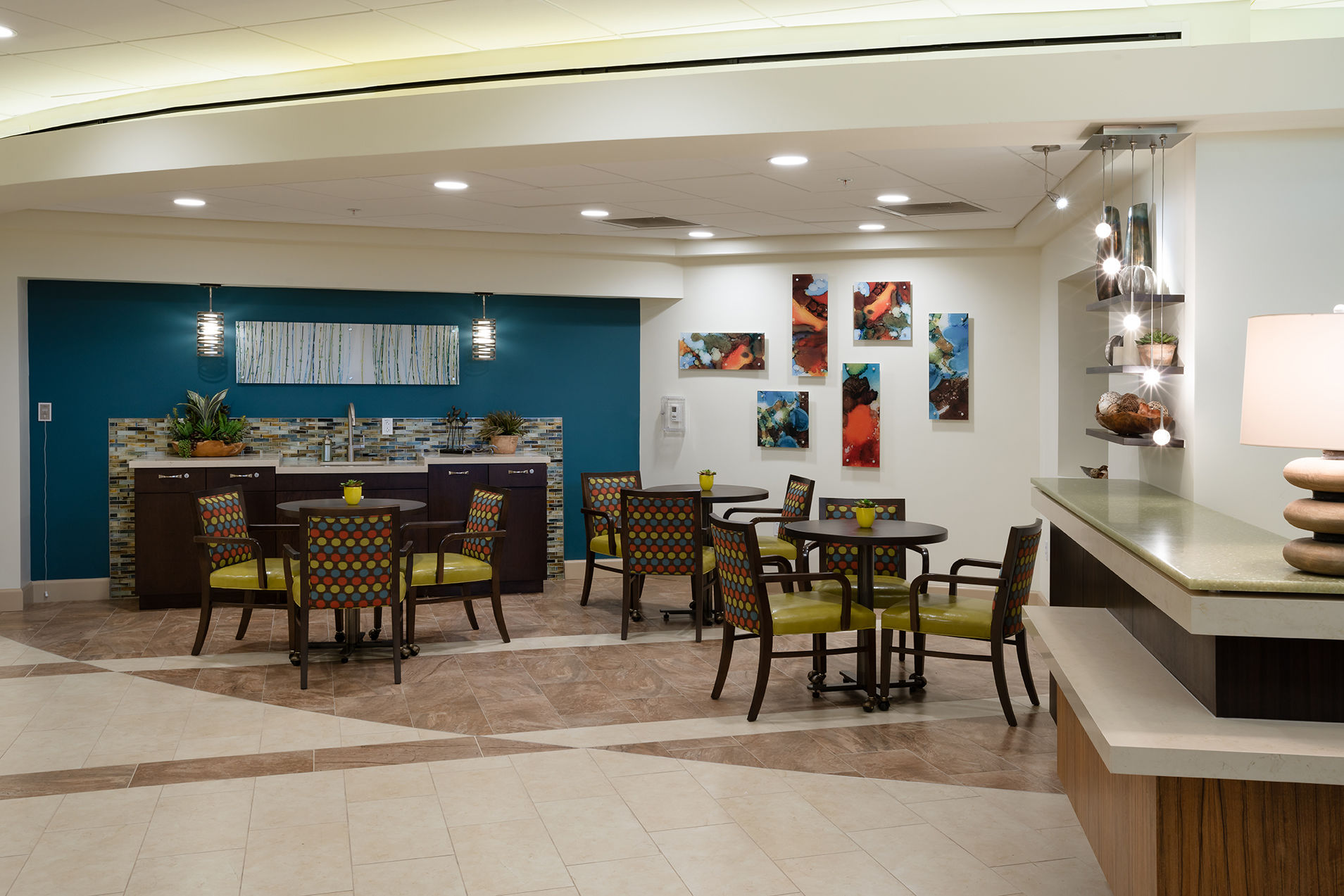 The Glenview at Pelican Bay Cafe Healthcare Florida Senior Living THW Design