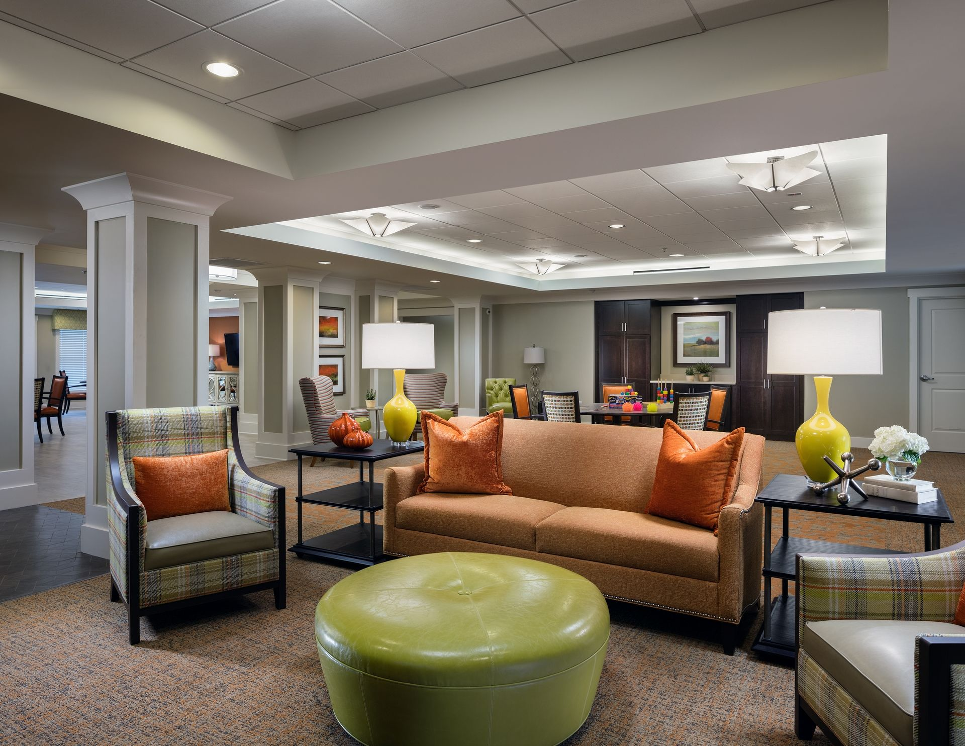 Memory Care social space lounge Assisted Living Dementia Alzheimers THW Design senior living architects